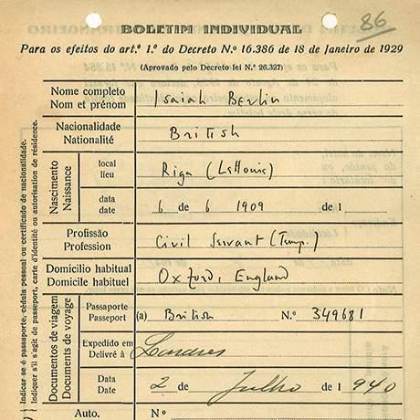 Boletim Individual de refugiado da Segunda Guerra Mundial, Espaço Memória dos Exílios, Estoril